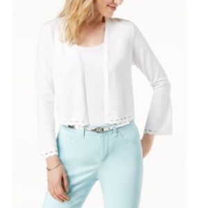 Charter Club White Cropped Geo-Cutout Cardigan